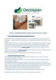 Návod k údržbě dřevěných podlah olejovaných UV olejem - Decospan