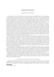 RESEARCH STATEMENT My research is in Lie theory, the study of ...