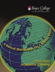 2004-2005 Catalog - Boyce College
