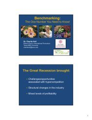Benchmarking: - Aggie Horticulture - Texas A&M University