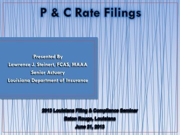 Property & Casualty Rate Filings - Louisiana Department of Insurance
