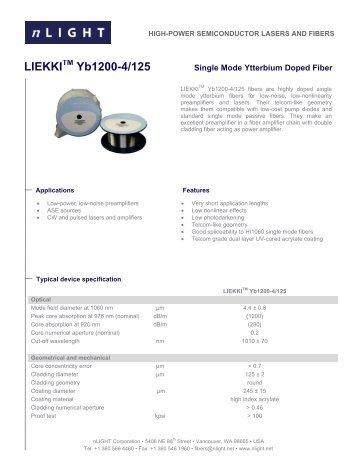 LIEKKI Yb1200-4/125 - Laser Lines Ltd.