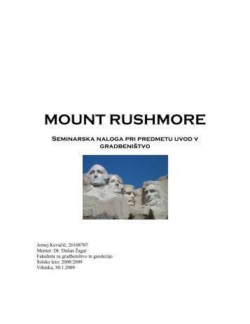 MOUNT RUSHMORE Seminarska naloga pri ... - Student Info