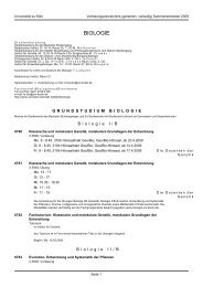 BIOLOGIE - Fachgruppe Biologie an der Uni Köln - Universität zu Köln
