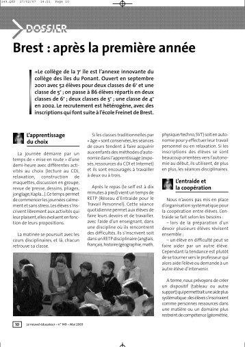 Brest : après la première année - Pédagogie Freinet