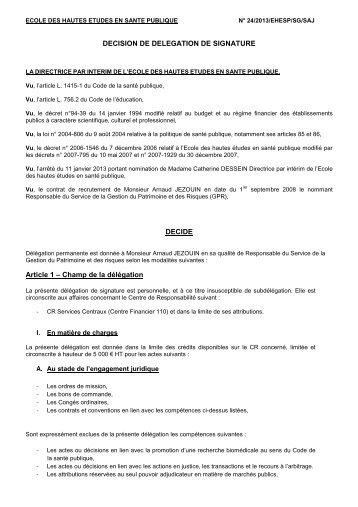 décision n° 24 2013 délégation de signature Arnaud Jézouin - EHESP