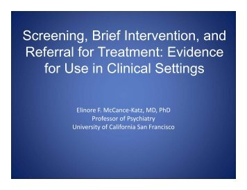 Evidence for Use in Clinical Settings - PCSS-O