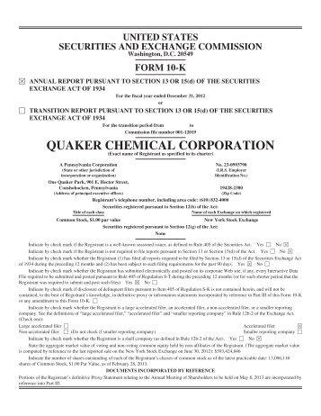 2012 Form 10-K - Quaker Chemical Corporation