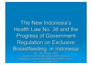 The New Indonesia's Health Law - IBFAN ASIA