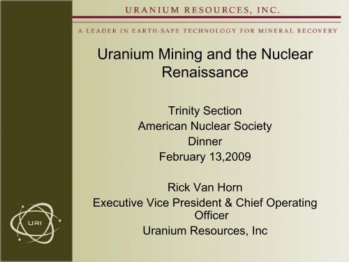 Uranium Mining and the Nuclear Renaissance - Local Sections