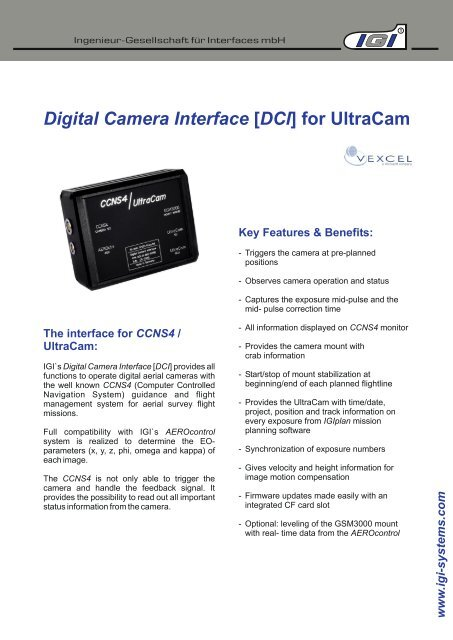Digital Camera Interface [DCI] for UltraCam
