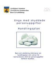 Unga med skyddade personuppgifter - Handlingsplan - Arvidsjaur