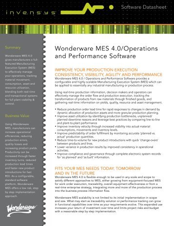 Wonderware MES 4.0/Operations and Performance Software