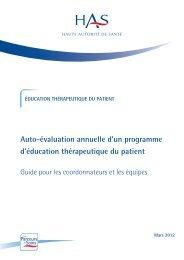 Auto-évaluation annuelle d'un programme d'ETP - Haute Autorité de ...