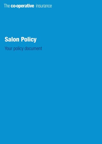 salon policy document - The Co-operative Insurance