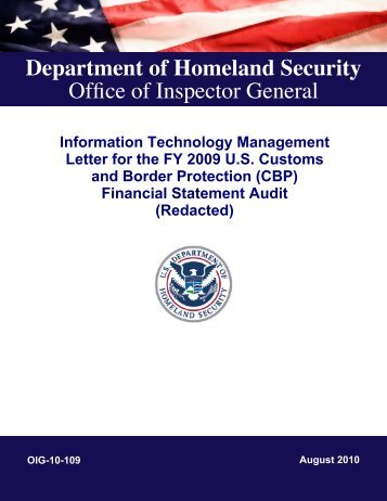 Information Technology Management Letter for the FY 2009 US
