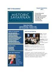 HSF E-Newsletter - Historic Savannah Foundation