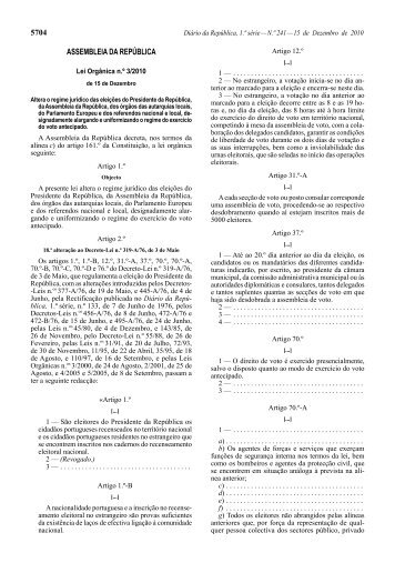 Lei Orgânica n.º 3/2010 - Diário da República Electrónico