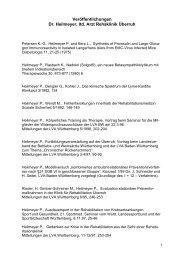 Veröffentlichungen Dr. Heilmeyer, ltd. Arzt Rehaklinik Überruh