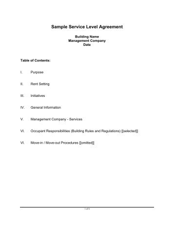 Onsite Sample Service Level Agreement (Sla) In Pdf Format - Cites
