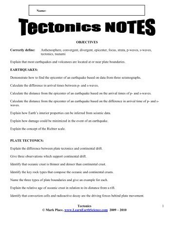 Tectonics Notes - Learn Earth Science