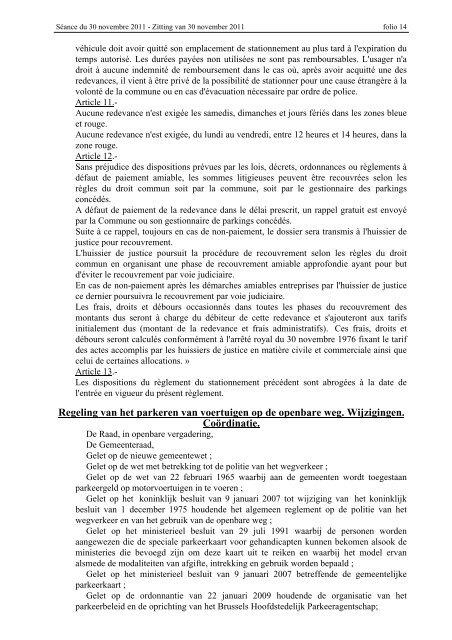 seance du 30 novembre 2011 zitting van 30 november ... - Koekelberg