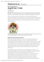 """Süddeutsche Zeitung """"Angriff der Trolle"""""""