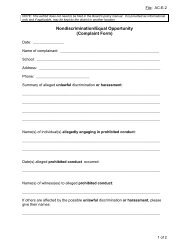Nondiscrimination/Equal Opportunity (Complaint Form)