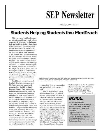 SEP Newsletter #28, Jan. 1997 - UCSF Biochemistry & Biophysics ...
