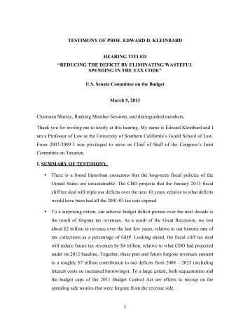 Sen Budget Cttee Testimony 3-5-13 - U.S. Senate Budget Committee