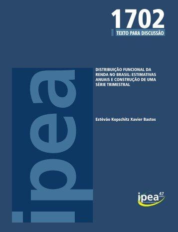 DISTRIBUIÇÃO FUNCIONAL DA RENDA NO BRASIL - Ipea