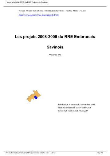 Les projets 2008-2009 du RRE Embrunais Savinois