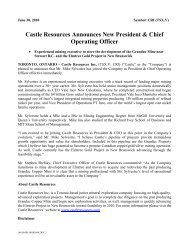 Castle Resources Announces New President & Chief Operating Officer