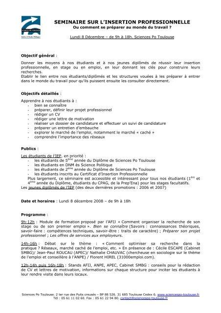 Séminaire Insertion Professionnelle Oip Sciences Po Toulouse