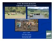 CTIC WATER QUALITY CREDIT AGGREGATORS