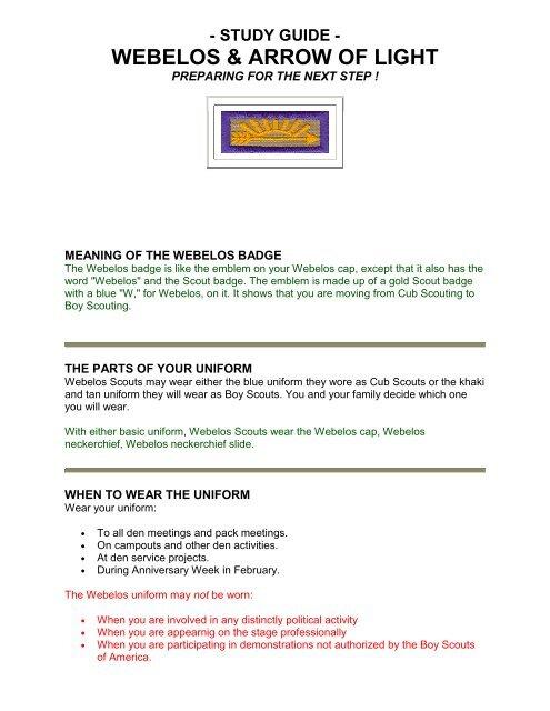 Arrow of Light Study Guide - Troop and Pack 412 - Omaha Nebraska