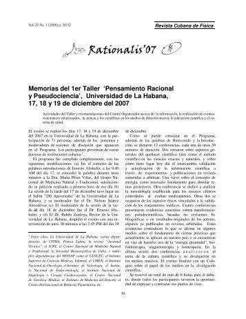 Memorias del 1er Taller 'Pensamiento Racional y Pseudociencia ...