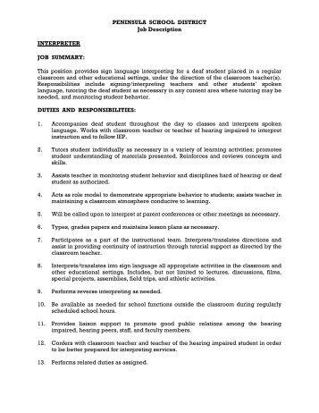 PENINSULA SCHOOL DISTRICT Job Description SECRETARY ...