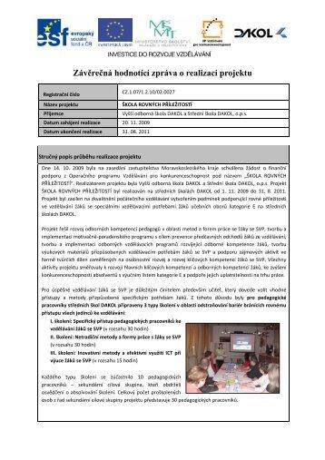Závěrečná hodnotící zpráva o realizaci projektu - NetNews
