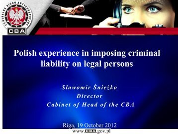 Polish experience in imposing criminal liability on legal ... - KNAB
