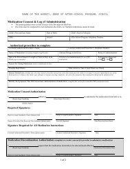 Medication Consent & Log of Administration