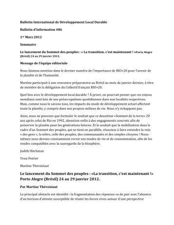 Le lancement du Sommet des peuples : Â«La ... - Pactes Locaux