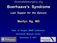 Case Presentation - Department of Surgery at SUNY Downstate ...