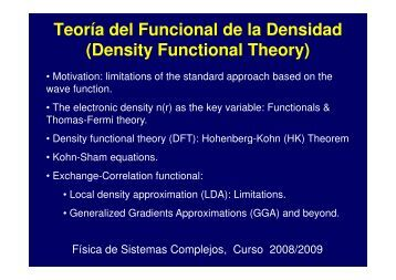 Teoría del Funcional de la Densidad (Density Functional Theory)