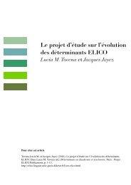 Le projet d'étude sur l'évolution des déterminants ELICO