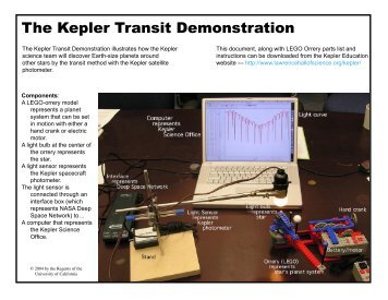 Table-top transit demo with four-planet orrery - Kepler - NASA