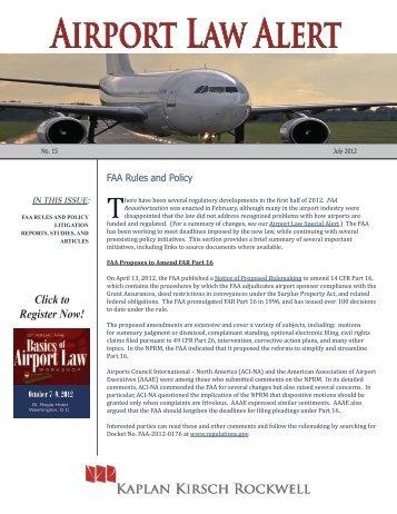 Airport Law Alert - Kaplan Kirsch & Rockwell LLP