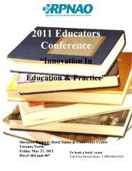 RPNAO Educators Conference Program