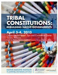 TRIbAL CoNSTITUTIoNS: - Native Nations Institute - University of ...