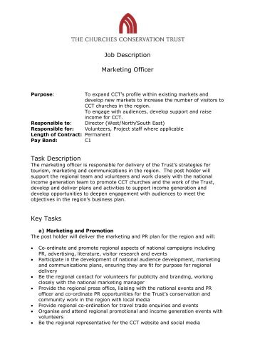 Job Description Post Marketing Officer Responsible To  Orwell Park